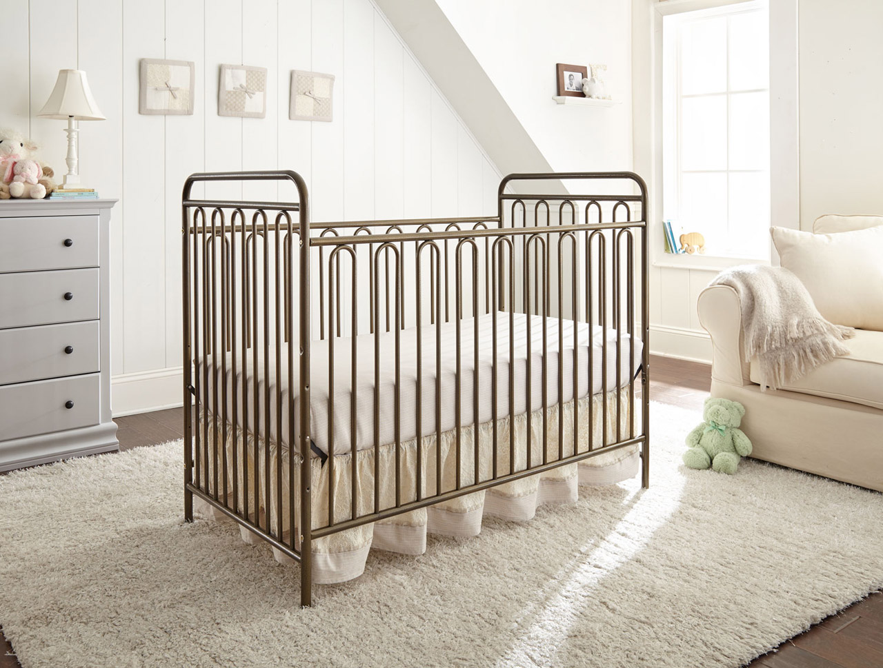 The Trinity 3 In 1 Full Sized Metal Crib, In A Classic Hoop Design With The  Golden Nugget Textured Finish, Is A Welcome Addition To Any Room Decor.